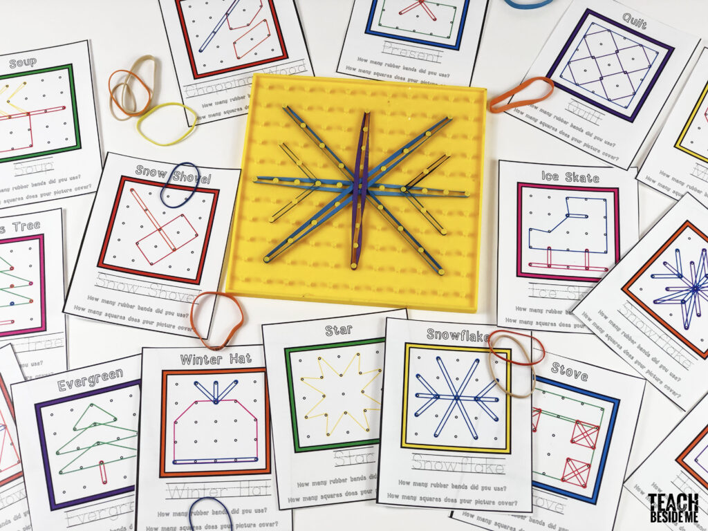 winter geoboard cards