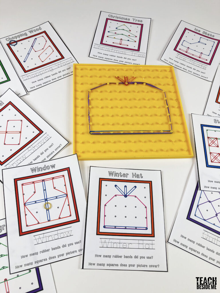 winter geoboard cards for kids