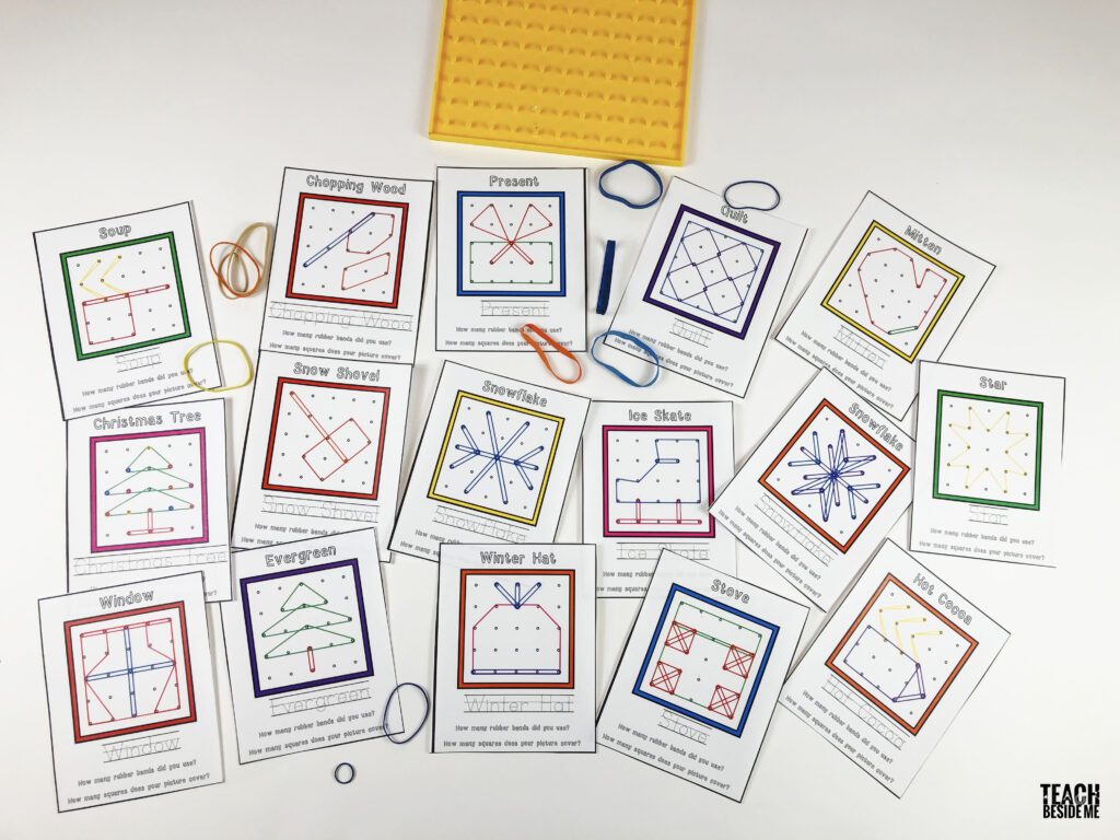 winter math geoboard cards