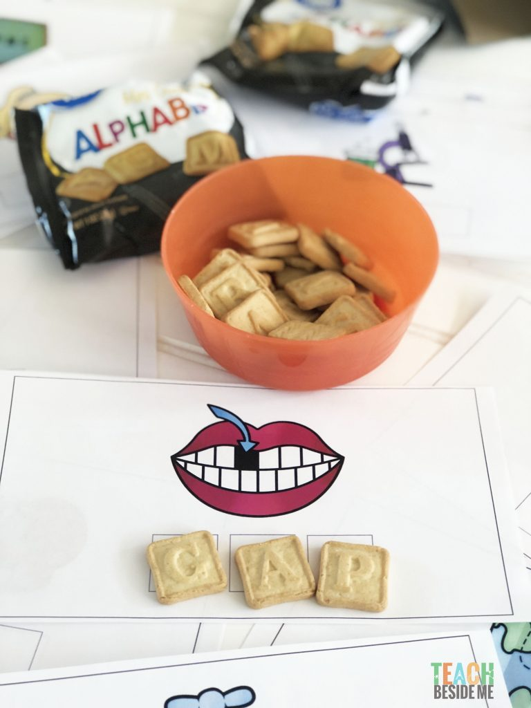 spelling activity with crackers