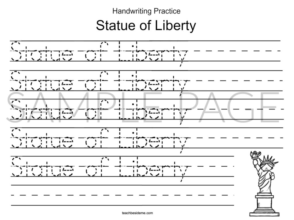 Statue of Liberty landmark handwriting page
