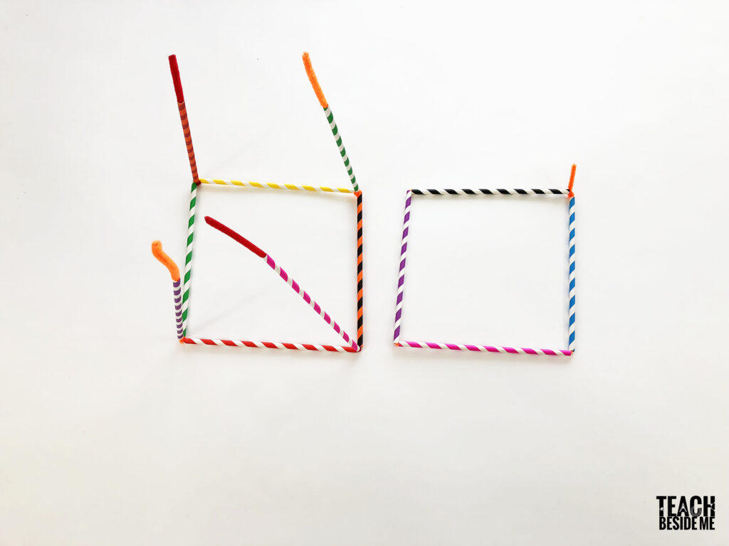 3d cube with straws