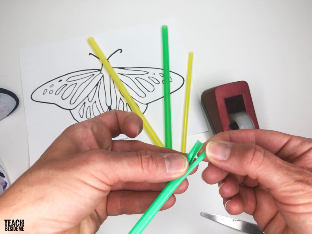 cutting straws for butterfly craft