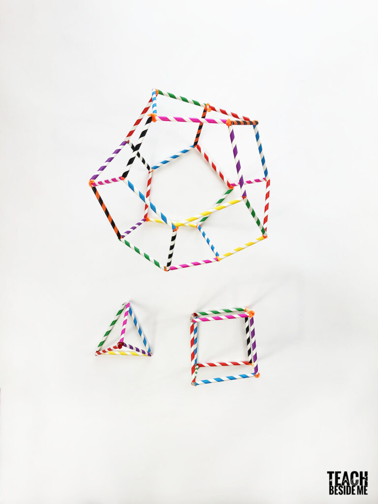 platonic solids with straws and pipe cleaners