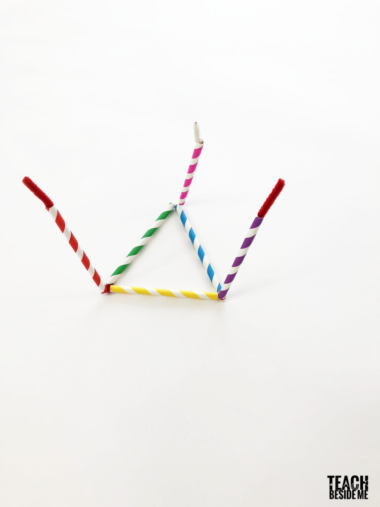 straw and pipe cleaner tetrahedron