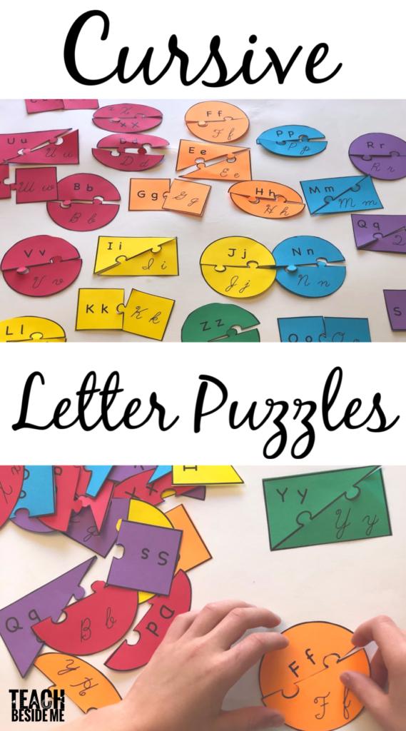 Cursive letter matching puzzles