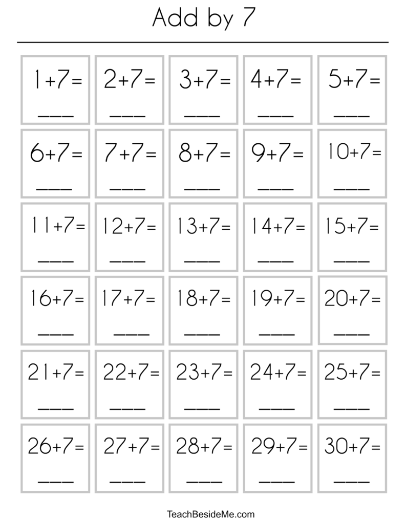 addition practice tables