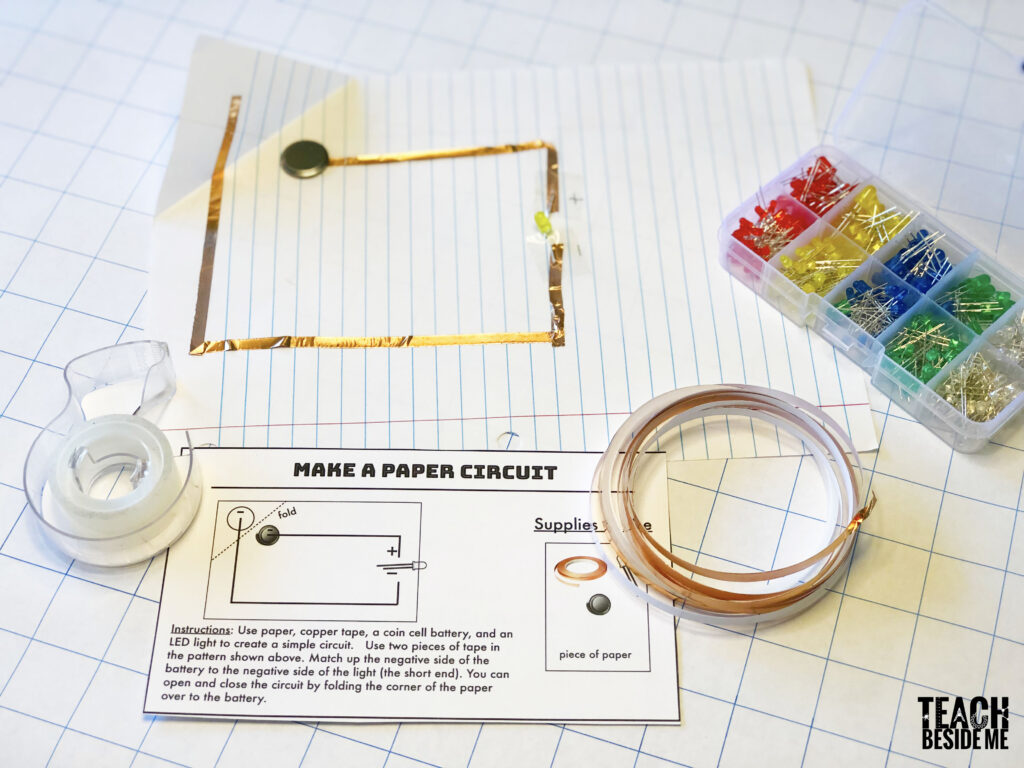 make a paper circuit- STEM challenge card