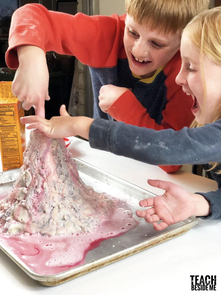 messy science for kids- volcano model