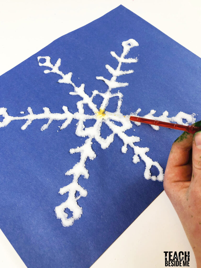 watercolor glue and salt winter snowflake craft