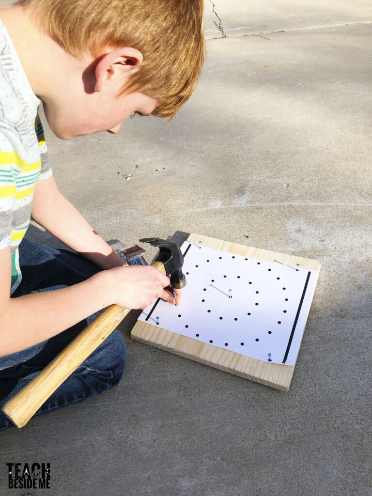 how to make a geoboard with nails