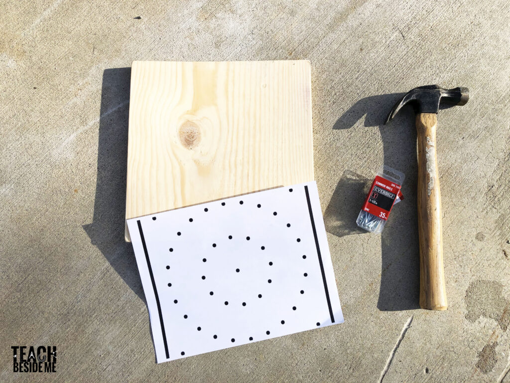 make a geoboard with nails and wood