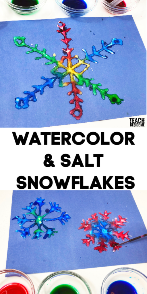 watercolor salt and glue art~ winter snowflake craft