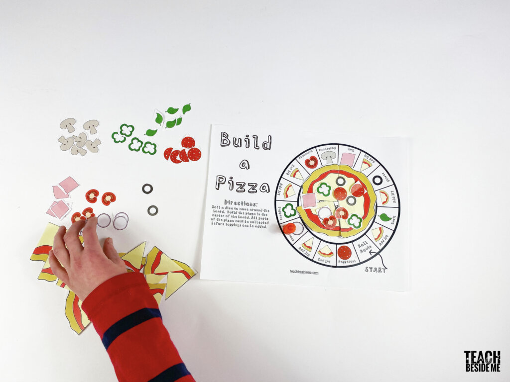 build a pizza fraction game for kids