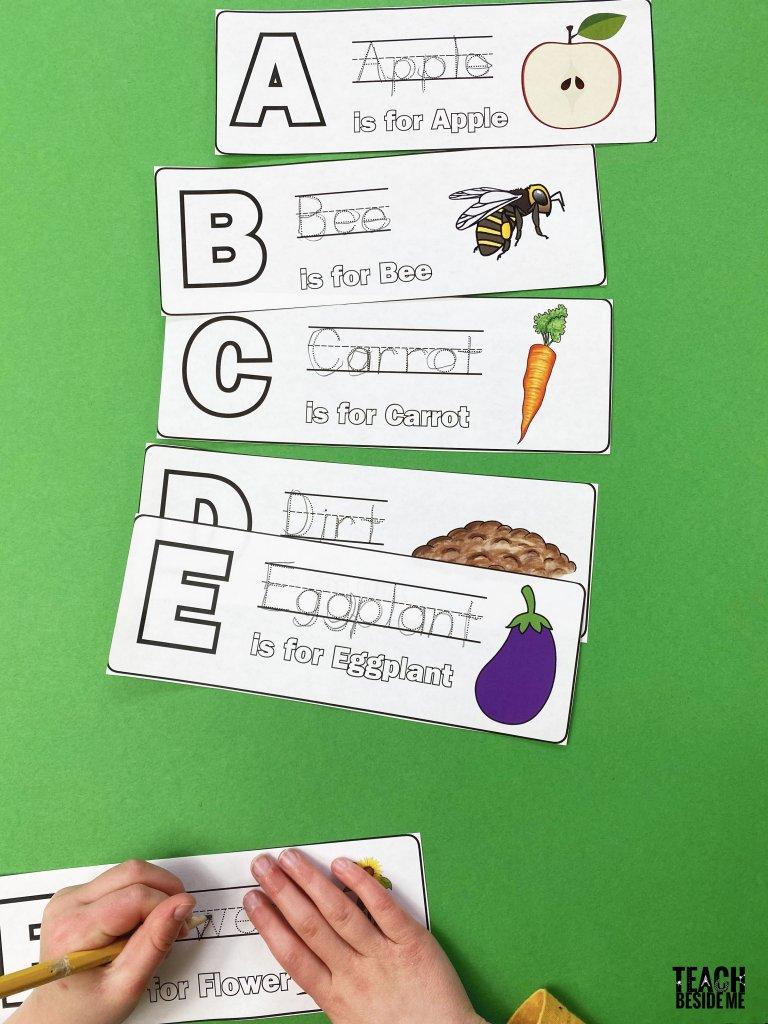 Garden Alphabet Cards for Preschool