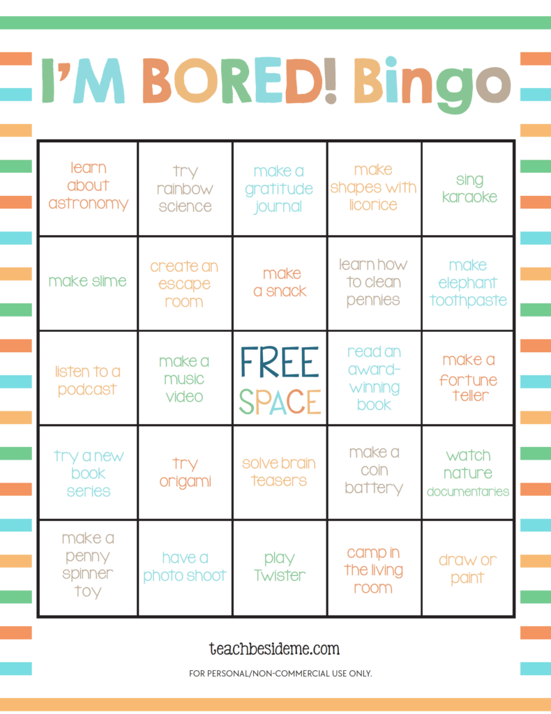 I'm Bored Bingo Game- things to do when bored for kids