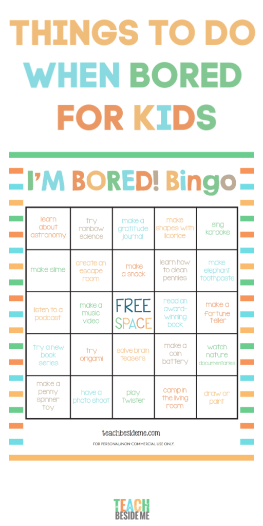 I'm Bored Bingo- things to do when bored for kids