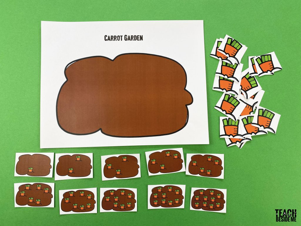 spring preschool math- carrot garden counting
