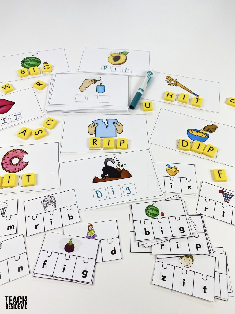short I cvc words cards and puzzles