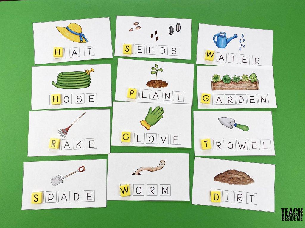 garden spelling word mats