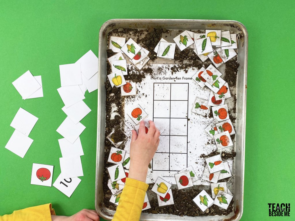 garden ten frame printable math activity
