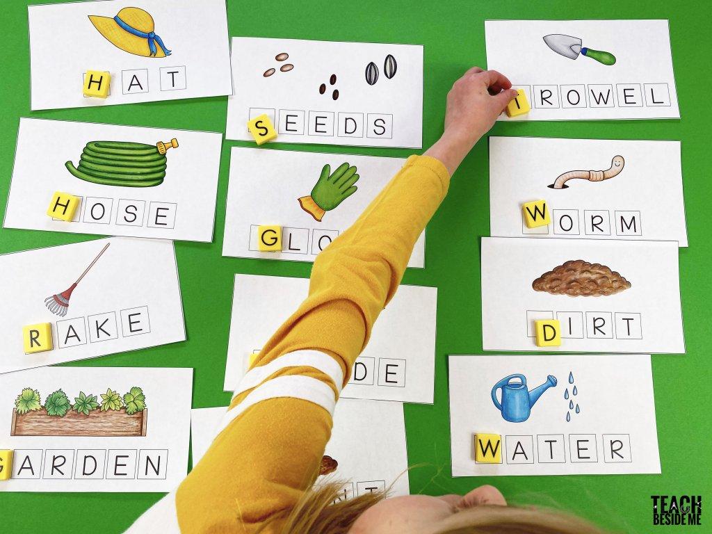 garden themed spelling mats