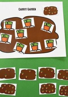 Spring Preschool Math- Carrot Garden Counting Mats