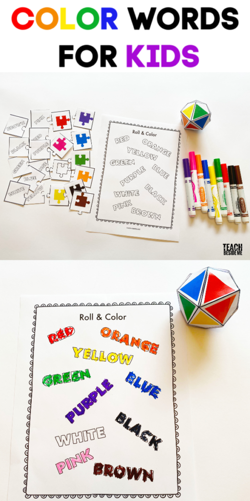 color words and puzzles for kids