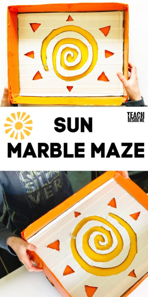 Sun cardboard marble maze