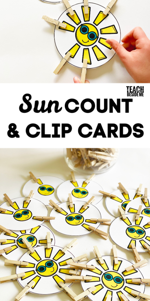 Sun-themed count and clip cards - preschool math