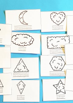 Cloud Shapes- 2D Shapes Name Cards