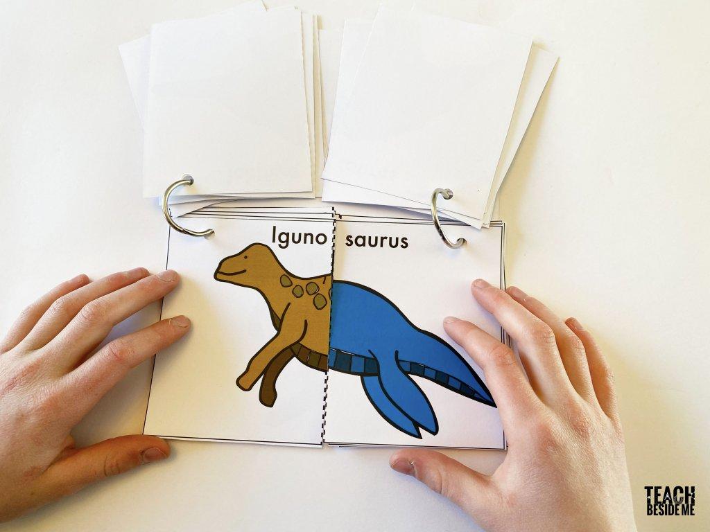 dinosaur flip book for kids