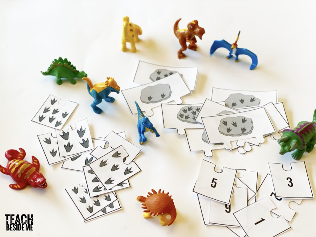 dinosaur fossils counting puzzles