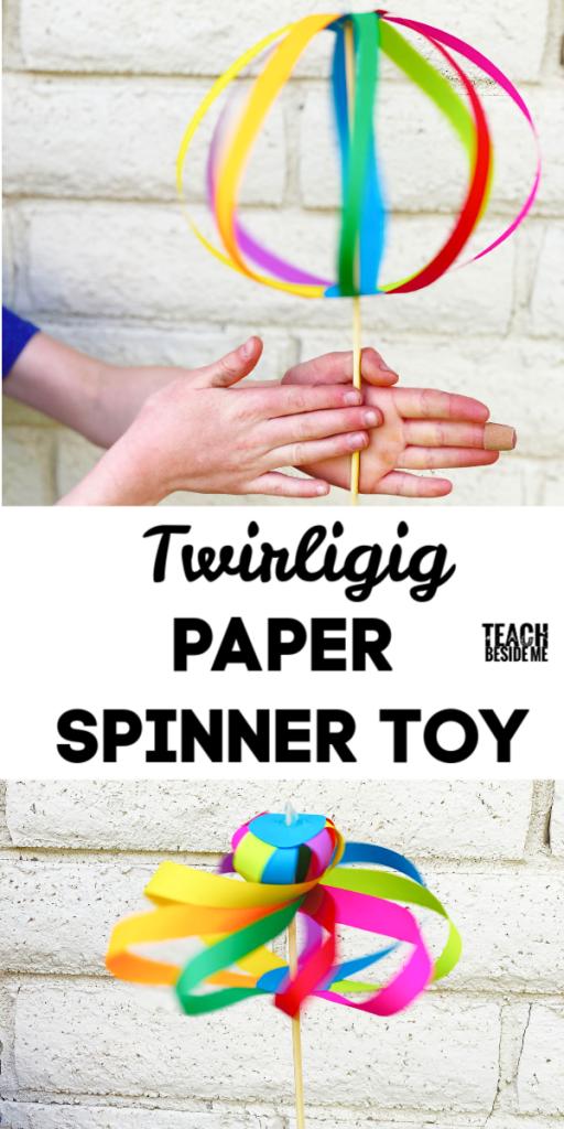 rainbow twirligig paper spinner toy