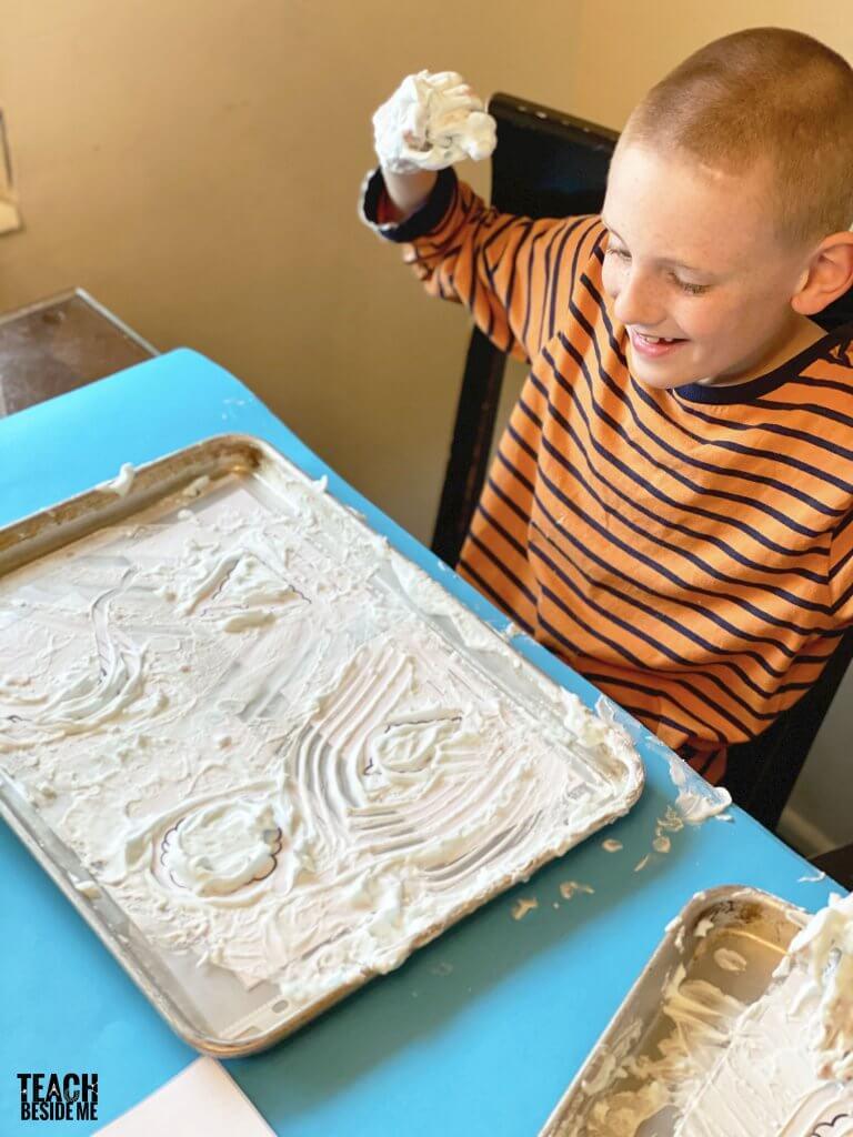 shaving cream sensory learning
