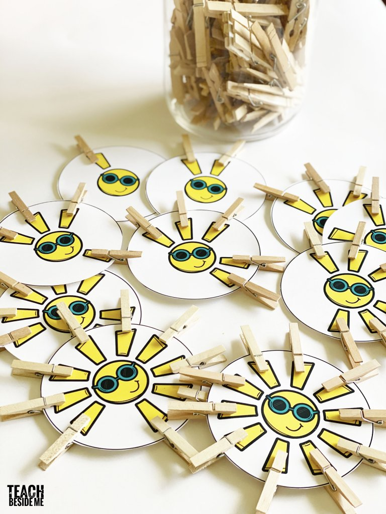 sun-themed math count and clip cards