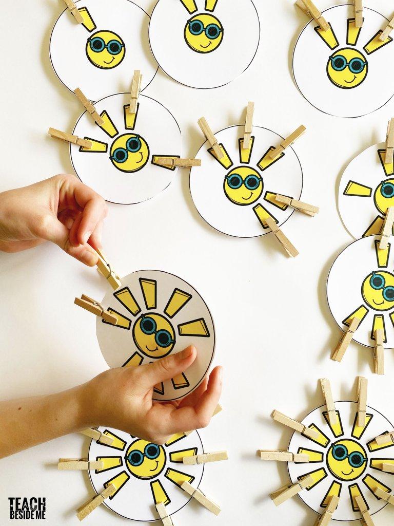 sun themed preschool math