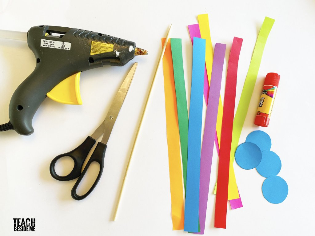 supplies for rainbow paper spinner toy
