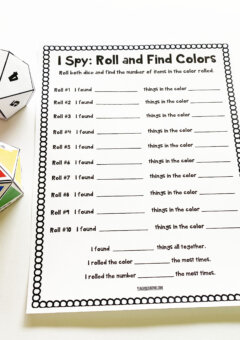 Number and Color I Spy Game for Kids
