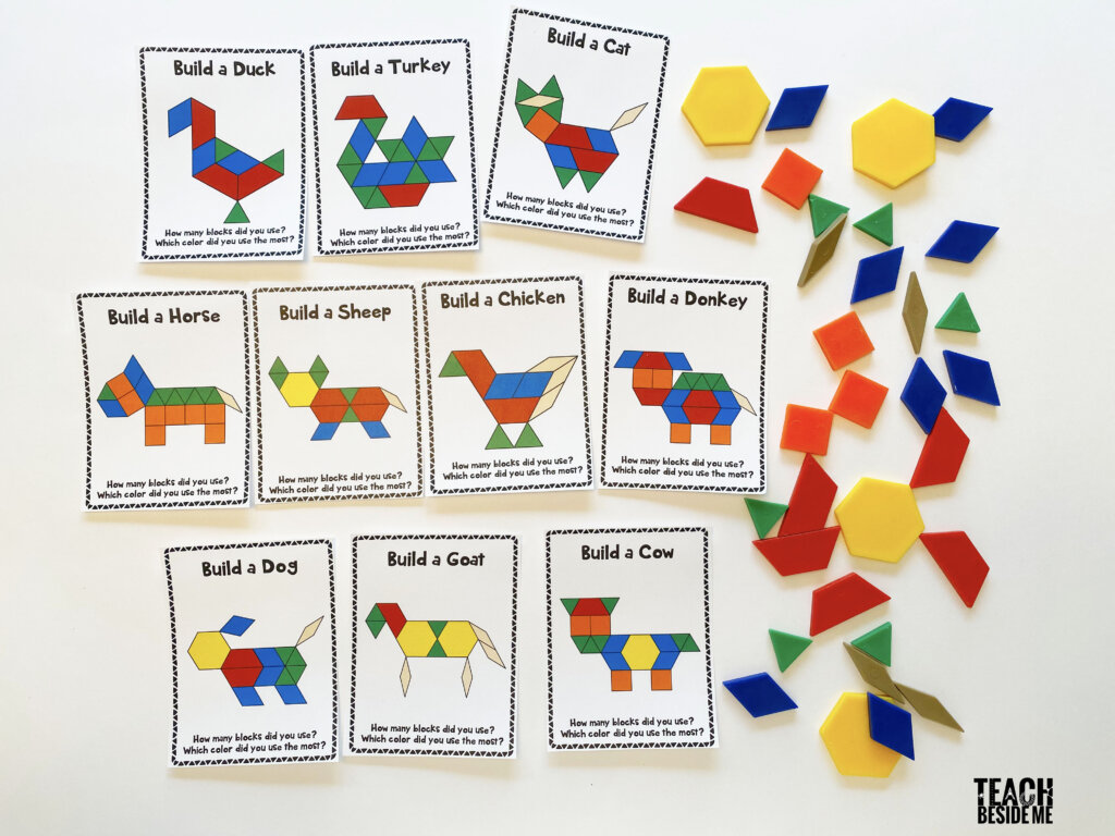 farm animal pattern block cards