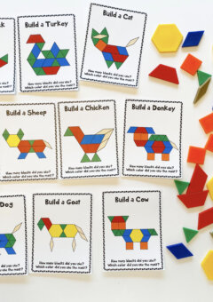 Farm Animal Pattern Block Cards