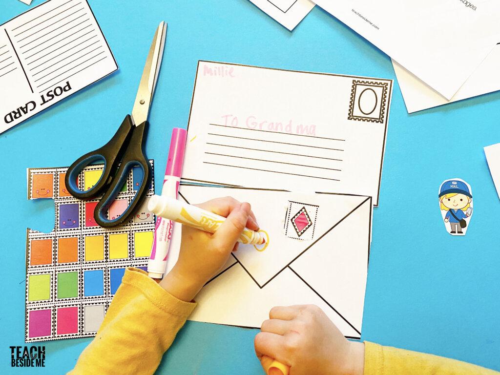 letter writing activities for kids- addressing envelope