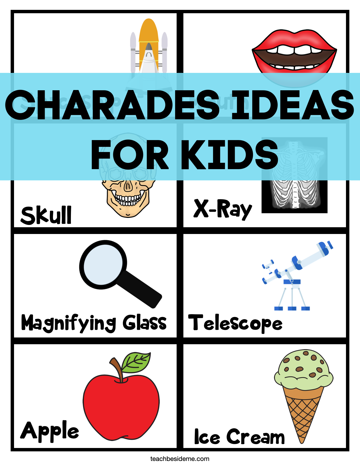 charades printable cards for kids
