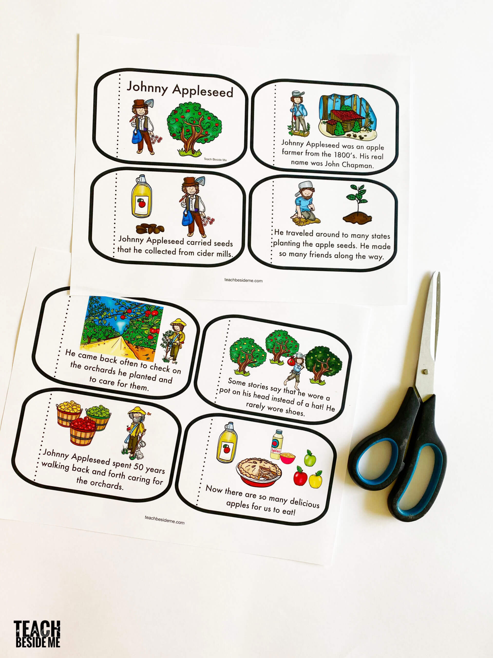 printable johnny appleseed book