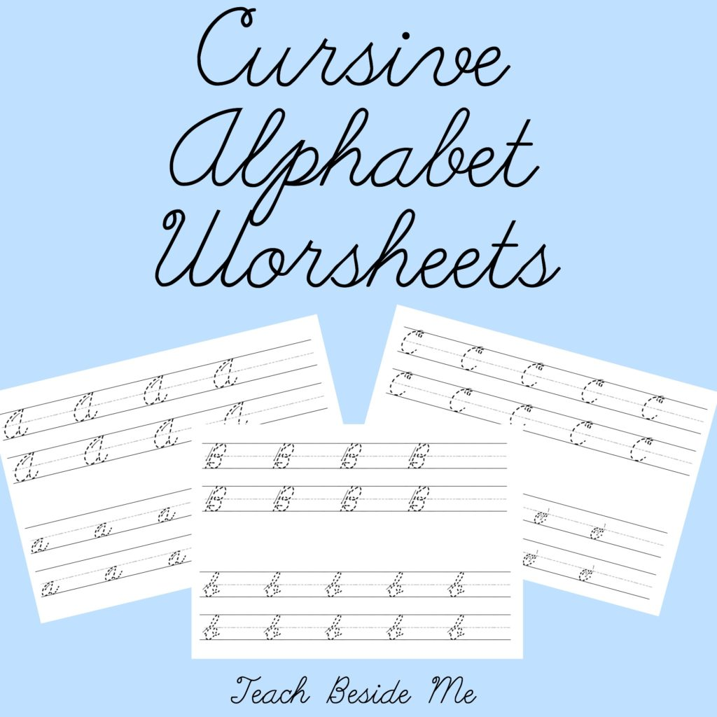Cursive Alphabet Worksheets from Teach Beside Me