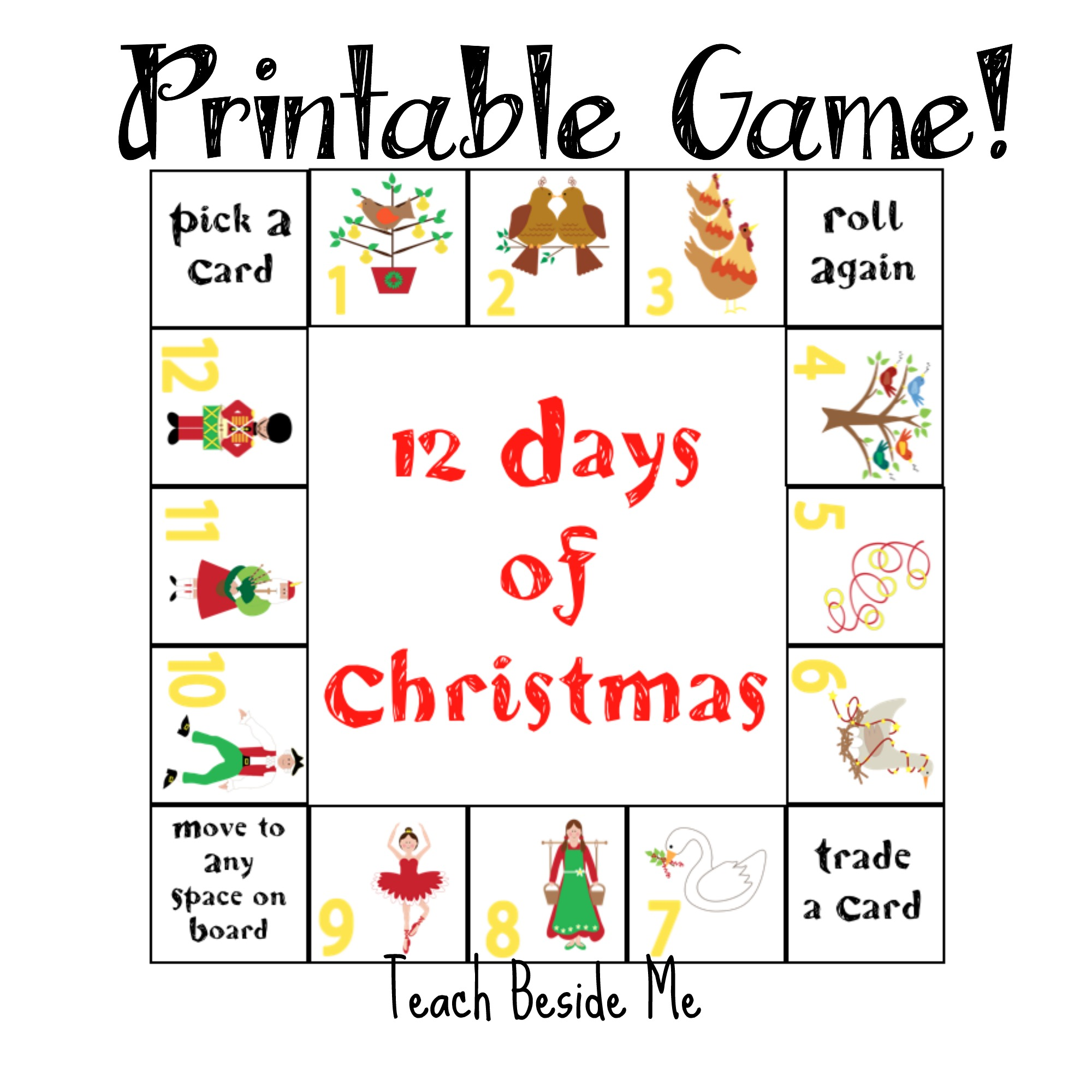 12 days of christmas printable game teach beside me. Black Bedroom Furniture Sets. Home Design Ideas