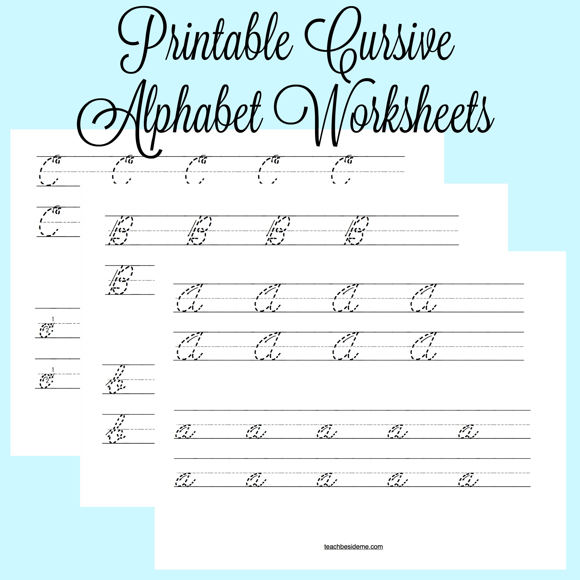 image about Free Printable Cursive Alphabet titled Cursive Alphabet Worksheets Coach Beside Me